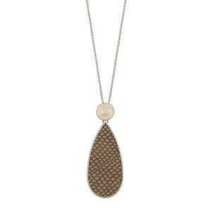 Python Embossed Teardrop Pendant Necklace Camel