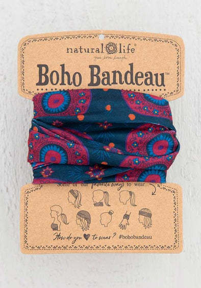Boho Bandeau Navy Berry Medallion