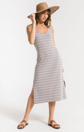 Seri Stripe Rib Tank Dress Grey