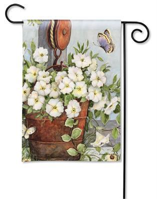 Petunias on Pulley Garden Flag