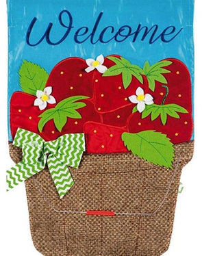 Basket of Strawberries Garden Applique Flag