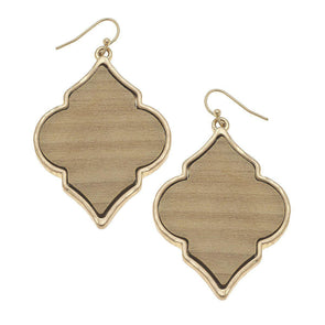 Wood Quatrefoil Earrings Ivory
