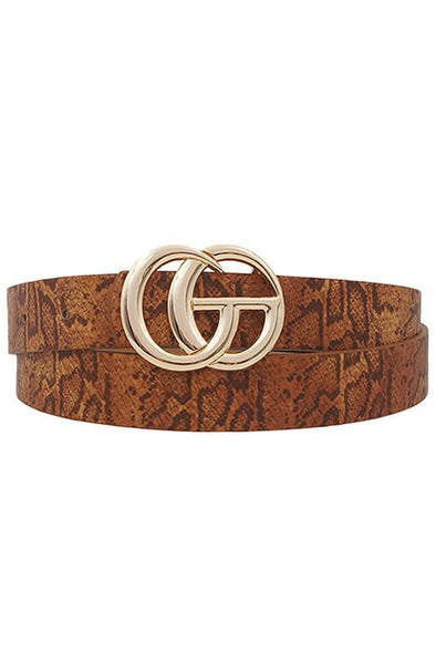 Thin GG Buckle Belt Tan Snake