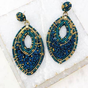 Oval ~Beaded Gold Statement Earrings