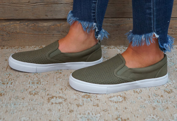 Can't Keep Up Slip Ons Olive