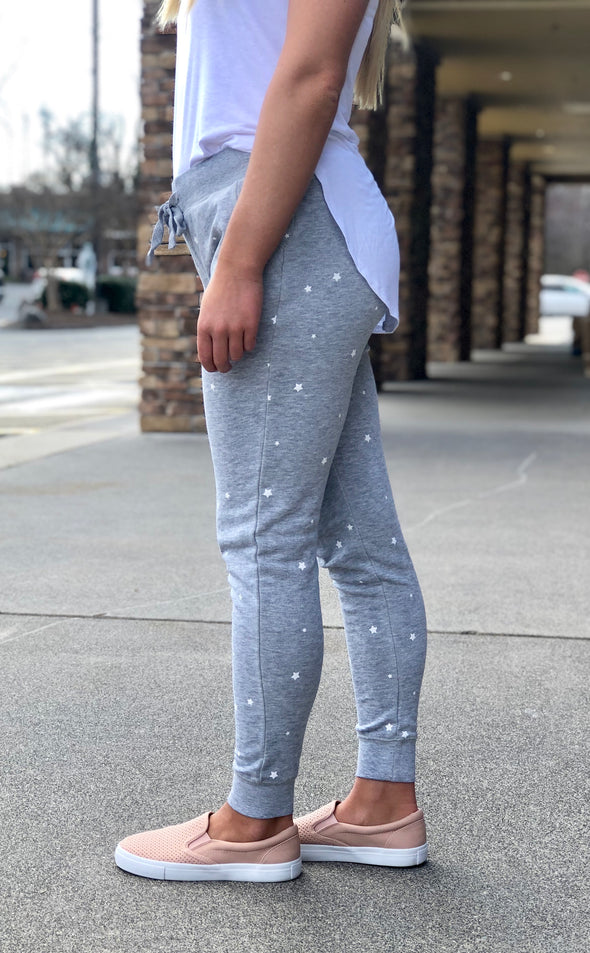 Star Print Fleece Joggers