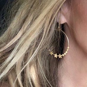 Carrie Star Frontal Hoops Gold