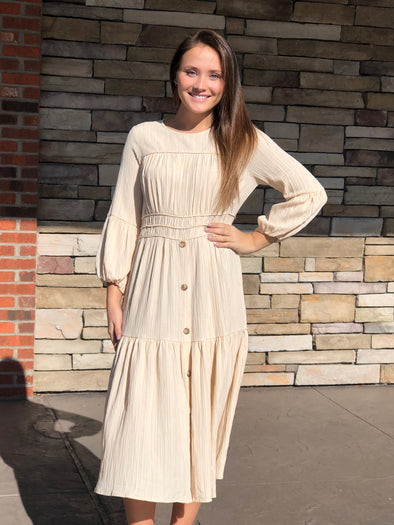 Paulene Button Down Dress Cream