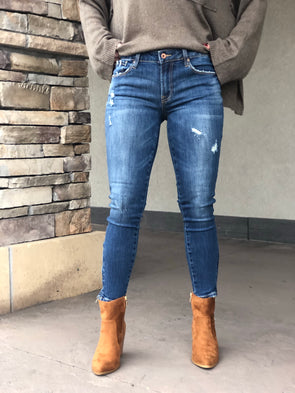 Isabelle Cropped Zipper Skinny Jeans