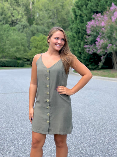 Look My Way Dress- Khaki Moss