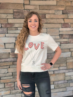 Love Balloons Graphic Tee- Ivory