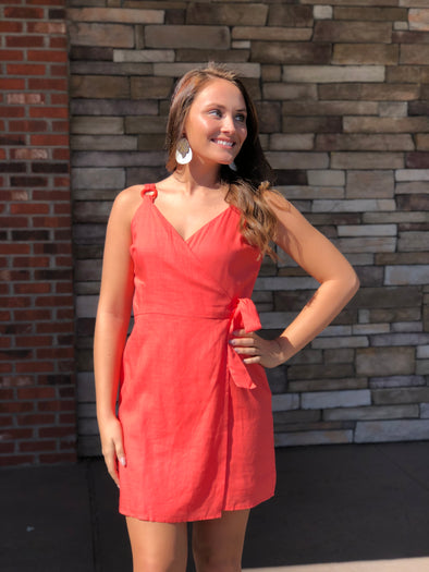 Sun Kissed Wrap Dress Coral