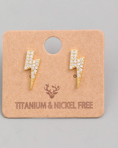 Sparkle~ Lighting Bolt Studs