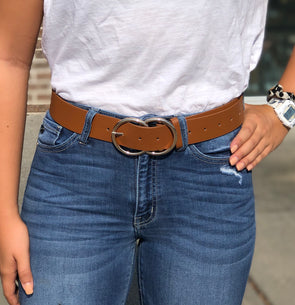 Large Double Circle Belt Tan