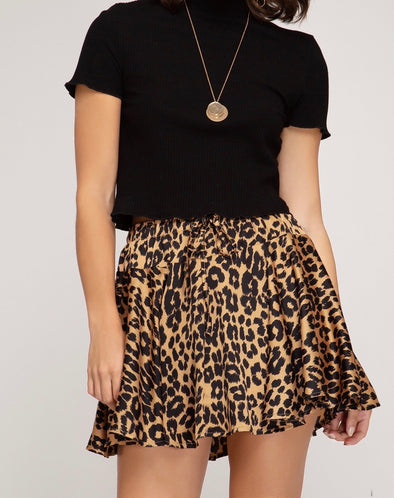 Kenzie Animal Print Flutter Skirt Taupe