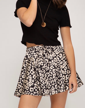 Kenzie Animal Print Flutter Skirt Black