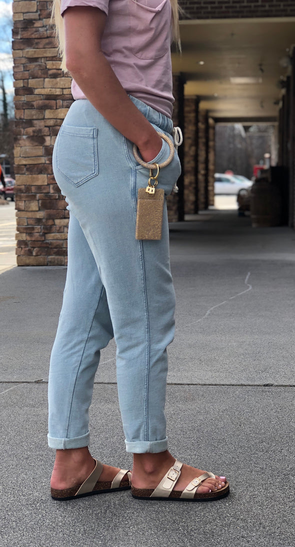 The Knit Denim Jogger Dusty Blue