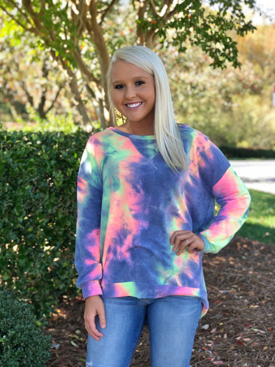 The Molly Tie Dye Pullover Charcoal
