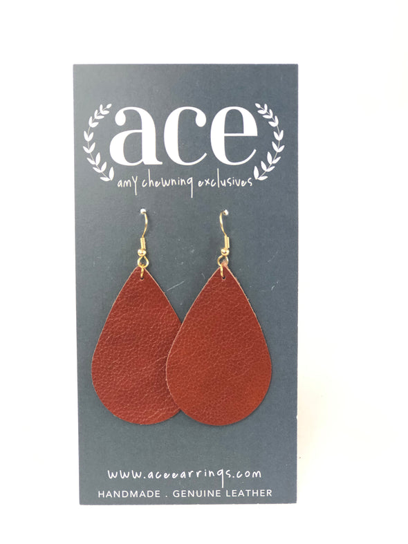 The Regular Teardrop Earrings Leather Cognac
