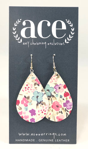 The Regular Teardrop Earrings Pink Floral