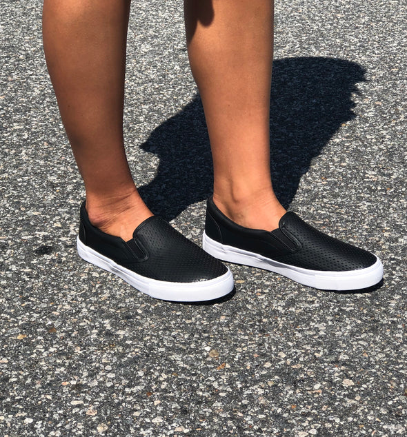 Can't Keep Up Slip Ons Black