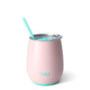 Stemless Wine Tumbler w/ Straw Blush 14oz.