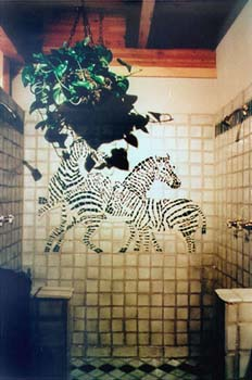 Custom Zebras installed on a shower wall