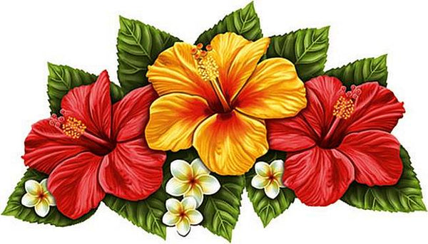 #3126 Hibiscus Triple Red & Yellow
