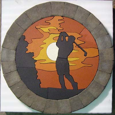 #9046 Golfer at Sunset Concrete Paver Medallion