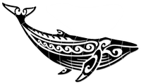 #3571 Tribal Humpback Whale Large Black