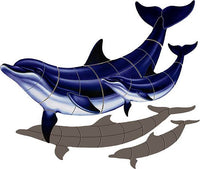#3165 Bottlenose Dolphin - B with Baby Shadow
