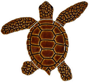 Turtle Swimming Pool Mosaic Tile | Loggerhead Turtle Tile