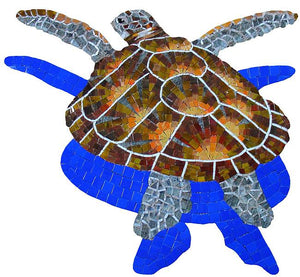 Loggerhead Turtle Swimming Pool Mosaic Tile | Loggerhead Turtle Tile