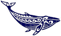 "Tribal Humpback Whale - Three Colors - 75"" x 30"""