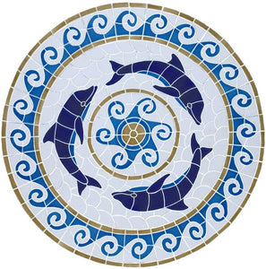 Medallion Swimming Pool Mosaic Tile | Dolphin Medallion Orion Tile