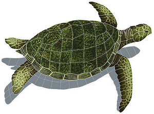 #2078 Sea Turtle Sideview Small Green Shadow