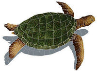 #2044 Sea Turtle Sideview Small Brown Shadow
