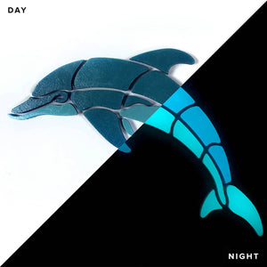 Playful Glow Dolphin - Swimming Pool Mosaic  Tile