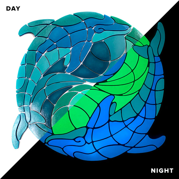 Glow Dolphin Yin-Yang - Swimming Pool Mosaic  Tile