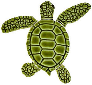 Loggerhead Turtle Swimming Pool Mosaic Tile | Green Turtle Tile