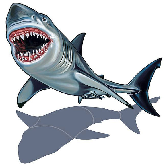 Shark Swimming Pool Mosaic Tile | Shadow Shark Tile