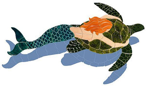 Mermaid Swimming Pool Mosaic Tile | Shadow Mermaid with Turtle Tile