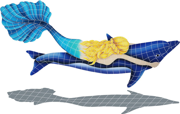Mermaid with Dolphin Shadow - Swimming Pool Mosaic Tile