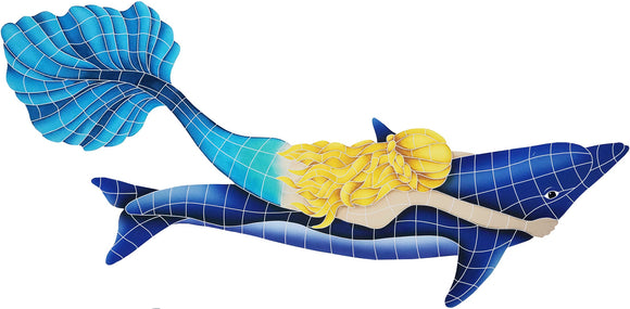 Mermaid with Dolphin - Swimming Pool Mosaic Tile