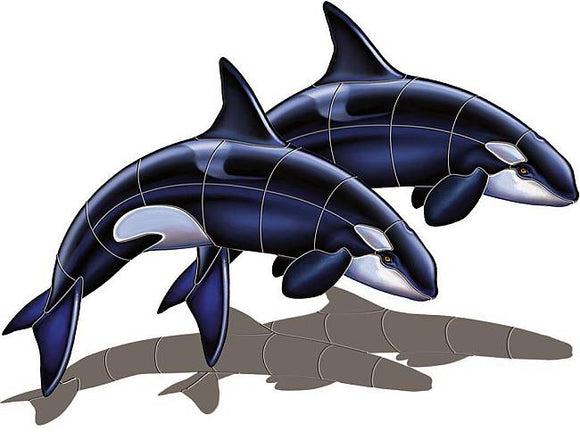Orca Whale Swimming Pool Mosaic Tile | Shadow Orca Whale Tile