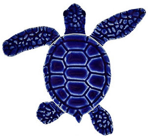 Loggerhead Turtle Swimming Pool Mosaic Tile | Blue Turtle Tile