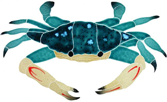 Blue Swimmer Crab Swimming Pool Mosaic Tile | Crab Tile