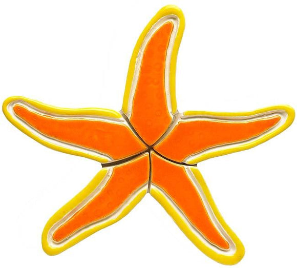 Orange Ceramic Starfish Pool Tile