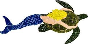 Mermaid Swimming Pool Mosaic Tile | Mermaid with Turtle Tile