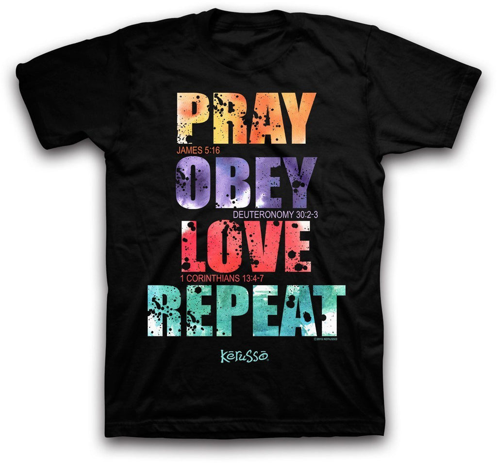 Pray Obey Love Repeat Christian T-Shirt ™